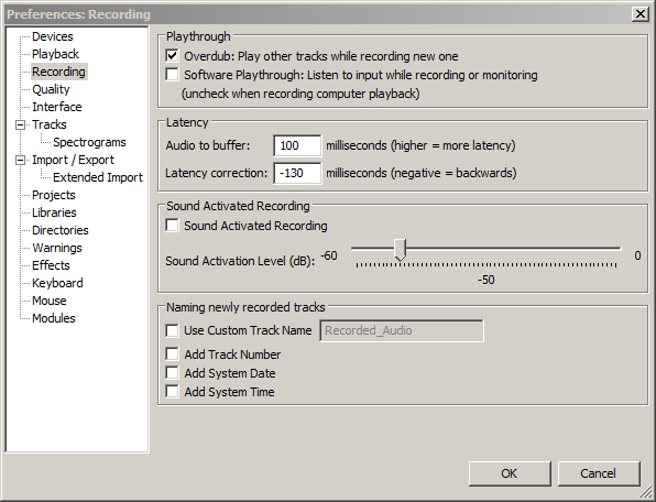 Audacity preferences, Recording,  ''Software Playthrough'' is un-ticked.png