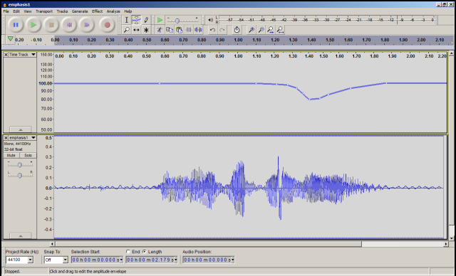 Time track in Audacity, warping pitch & speed.png