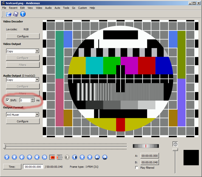 Avidemux video editor, shift sound-track ringed in red.png