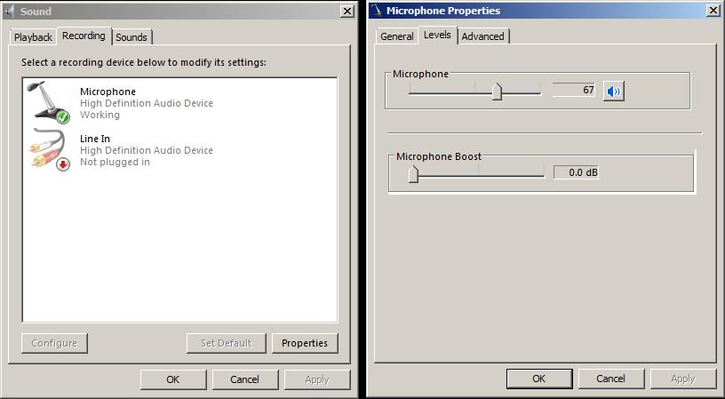 ''microphone properties'' in Windows recording devices can have gain sliders.png