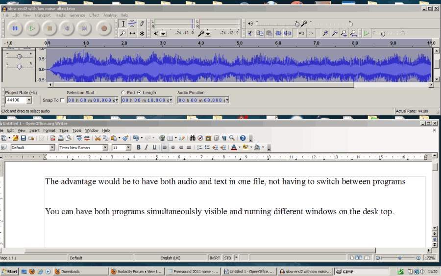 desktop with Audacity and open-office, simultaneously visible and both running.png